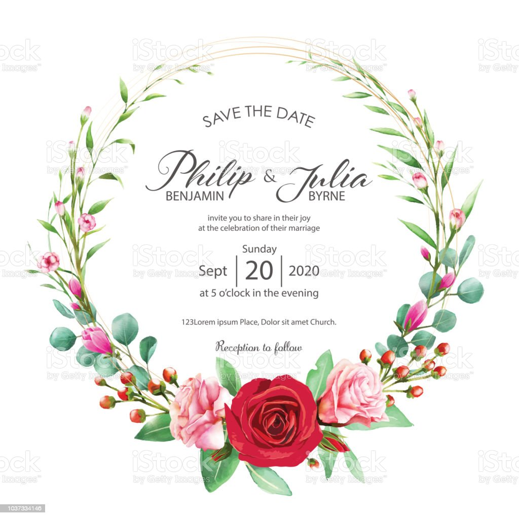 Beautiful Red And Pink Floral Flower Wedding Invitation Card On