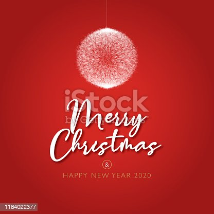 istock Beautiful red christmas and happy new year card, 2020 1184022377