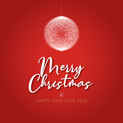 Beautiful red christmas and happy new year card, 2020