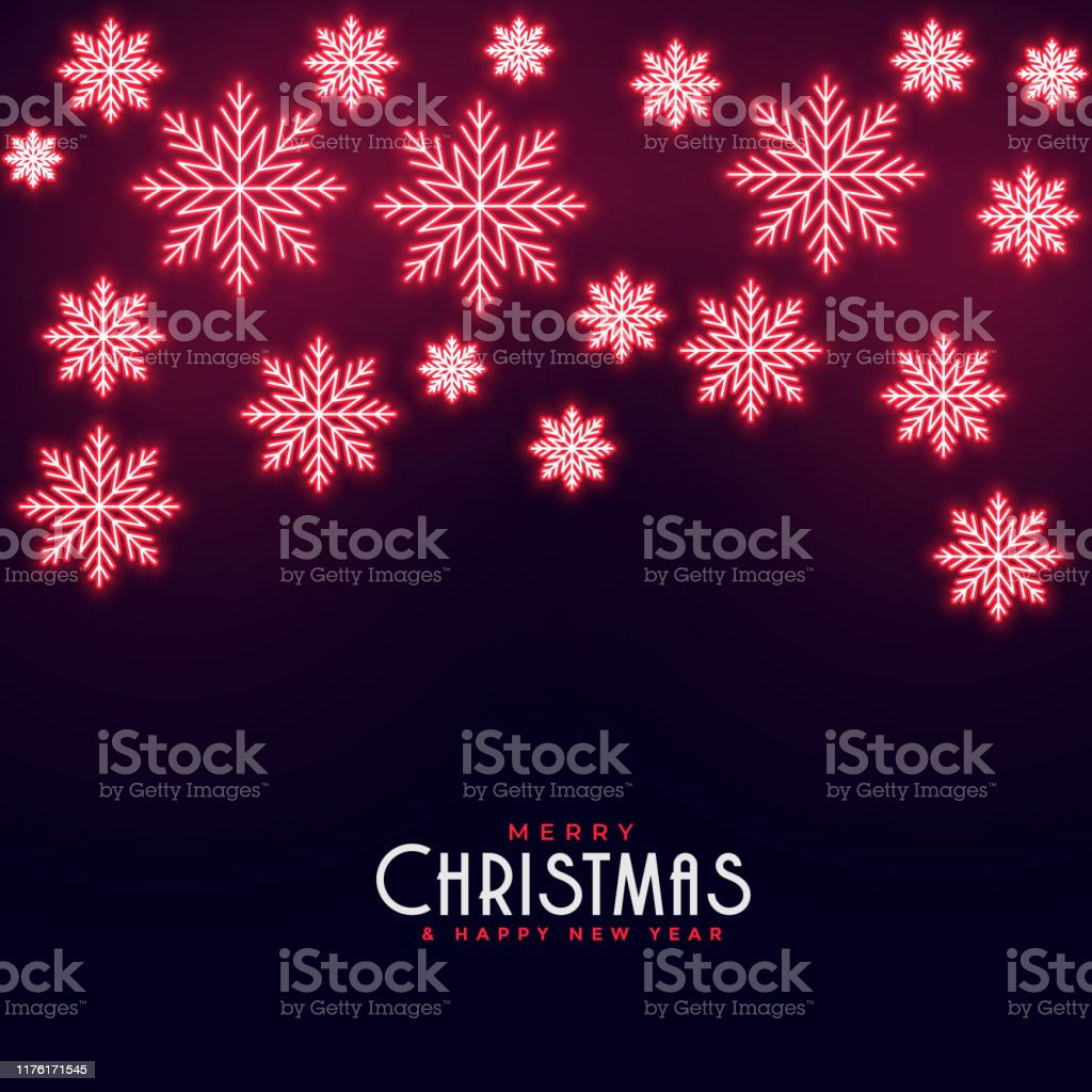 beautiful red neon falling snowflakes merry christmas background vector id1176171545
