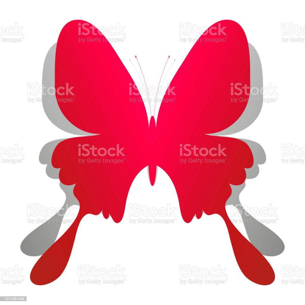 Rote Weihnachtskarten.Schöne Rote Papier Schmetterling Auf Weißem Hintergrund Mit Schatten