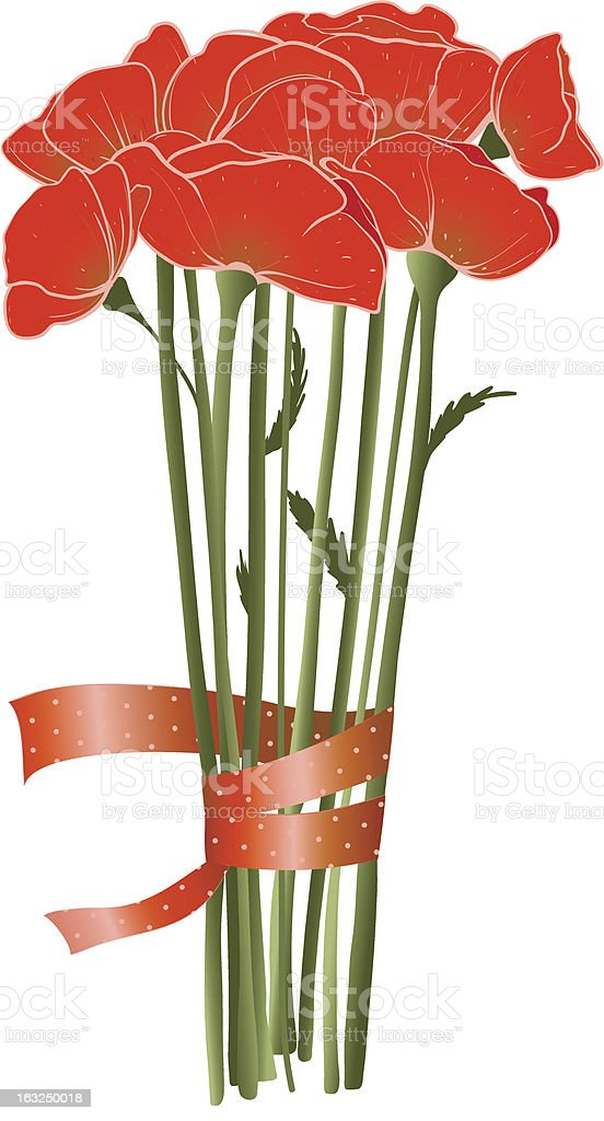 Beautiful Red Poppies with Ribbon royalty-free stock vector art