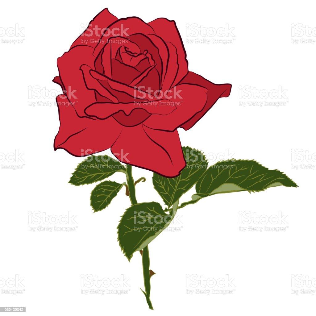 Beautiful red rose isolated on white background botanical silhouette beautiful red rose isolated on white background botanical silhouette of flower flat stylization izmirmasajfo