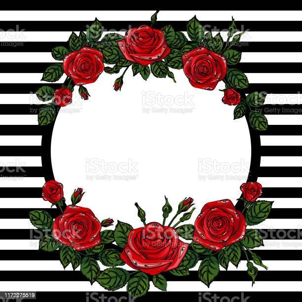 Beautiful red roses frame with stripes vector square illustration vector id1172275519?b=1&k=6&m=1172275519&s=612x612&h=zluv2vcohzhte5mxzv1tk2t0gzj0ngu2ycsfcquitjq=