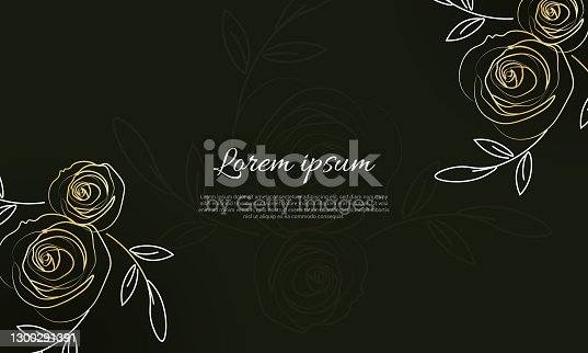 istock Beautiful red roses frame,vector illustration 1300291391