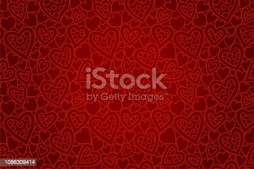 Beautiful red seamless pattern for st Valentines day with heart shapes