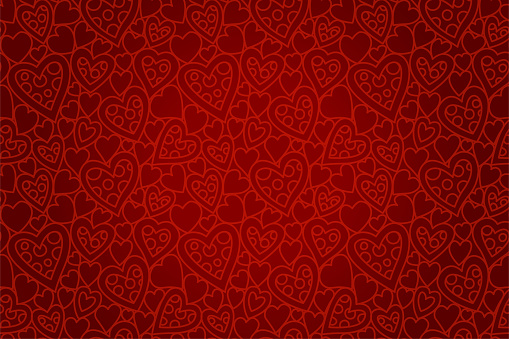 Beautiful red seamless pattern with heart shapes