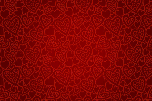 beautiful red seamless pattern with heart shapes - valentines day stock illustrations