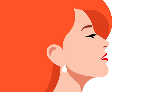 Beautiful redhair woman. Close-up portrait of a elegant lady with long red hair. Vector illustration.