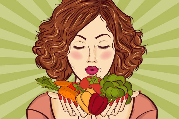 beautiful red-haired lady with vegetables in his hands - paleo diet stock illustrations, clip art, cartoons, & icons