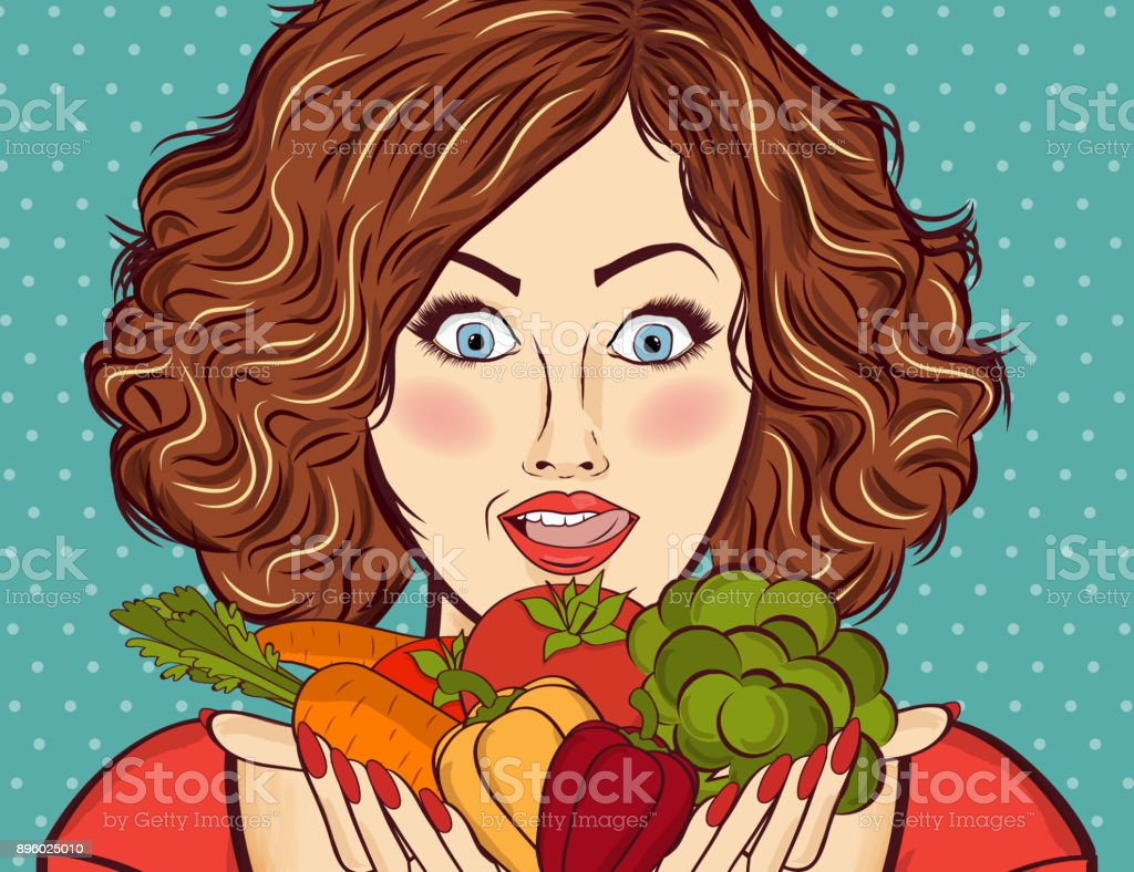 beautiful red-haired lady with vegetables in his hands vector art illustration