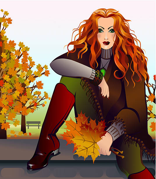 beautiful red-haired woman sitting in the park - redhead stock illustrations, clip art, cartoons, & icons