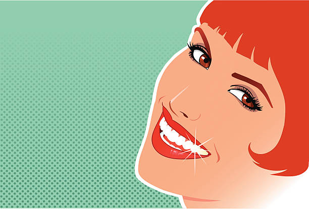 beautiful redhead smiling with copy space - toothy smile stock illustrations