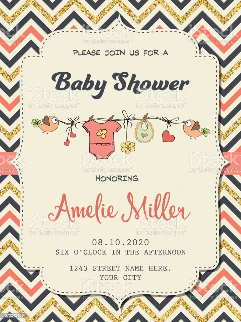 Beautiful retro baby shower card template with golden glittering details vector art illustration