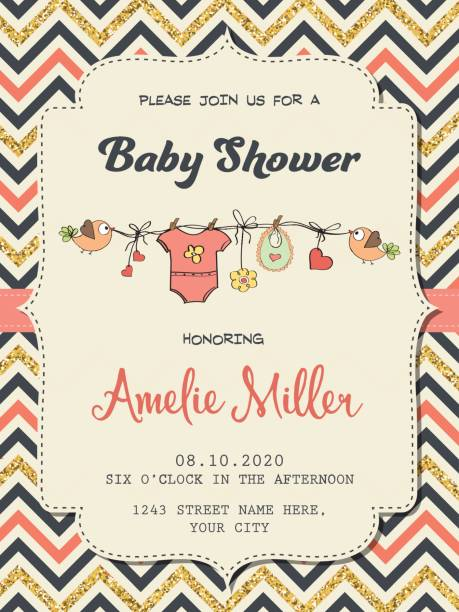 ilustraciones, imágenes clip art, dibujos animados e iconos de stock de beautiful retro baby shower card template with golden glittering details - baby shower