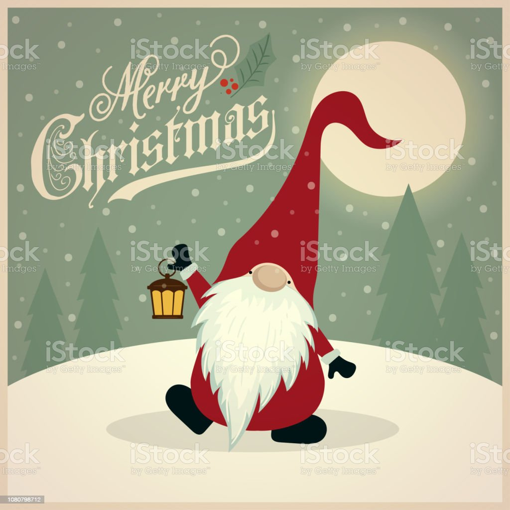 Beautiful Retro Christmas Card With Gnome Stock Illustration Download Image Now Istock