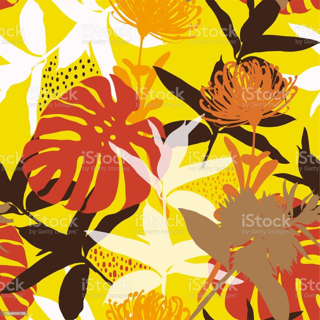 Hermoso colorido retro y verano brillante silueta abstracta de patrones sin fisuras con hojas y flores de fondo con el vector de botánico - ilustración de arte vectorial