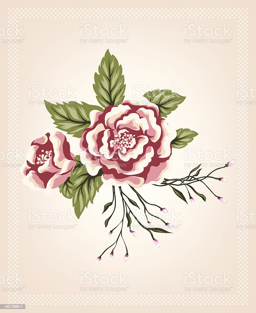 beautiful retro rose flowers bouquet with simple vector art illustration