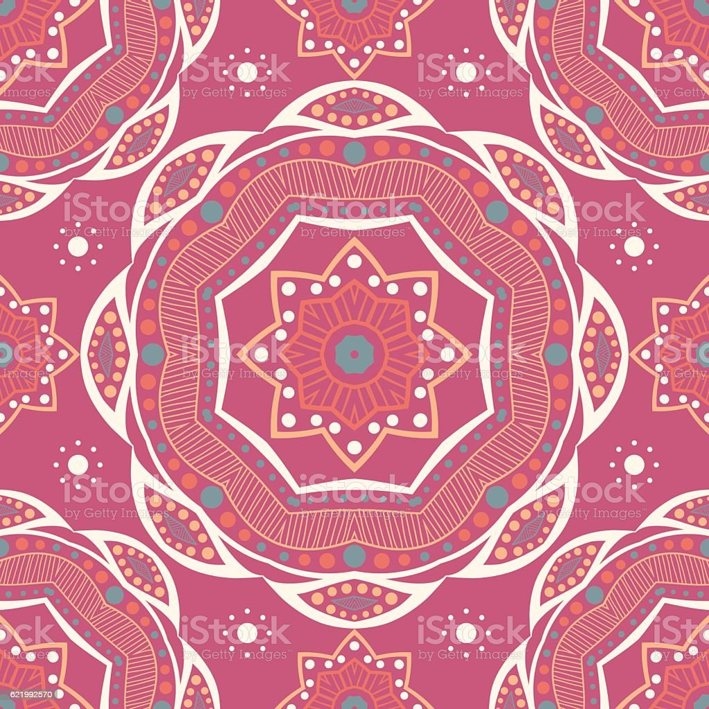 Beautiful retro seamless pattern tile, vintage texture. Ethnic ornaments.  Flower royalty-free