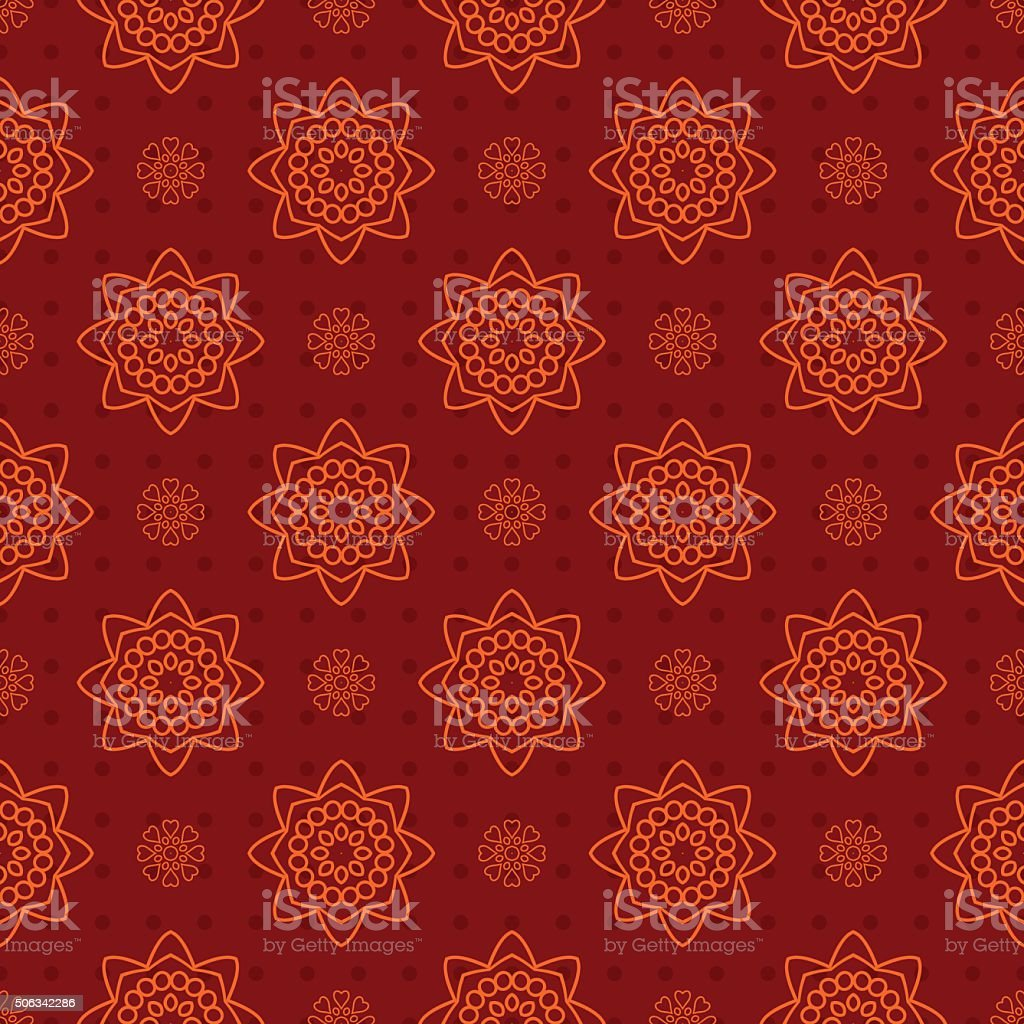 Beautiful retro seamless pattern, vintage texture. Red pattern with hearts vector art illustration