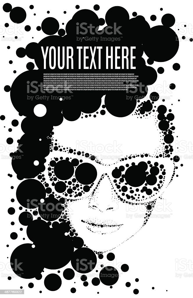 Beautiful retro woman, vector. Copy space vector art illustration