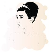 Beautiful retro woman, vector. Copy space.Illustration was created using circles