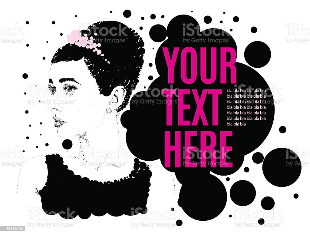Beautiful retro woman, vector. vector art illustration