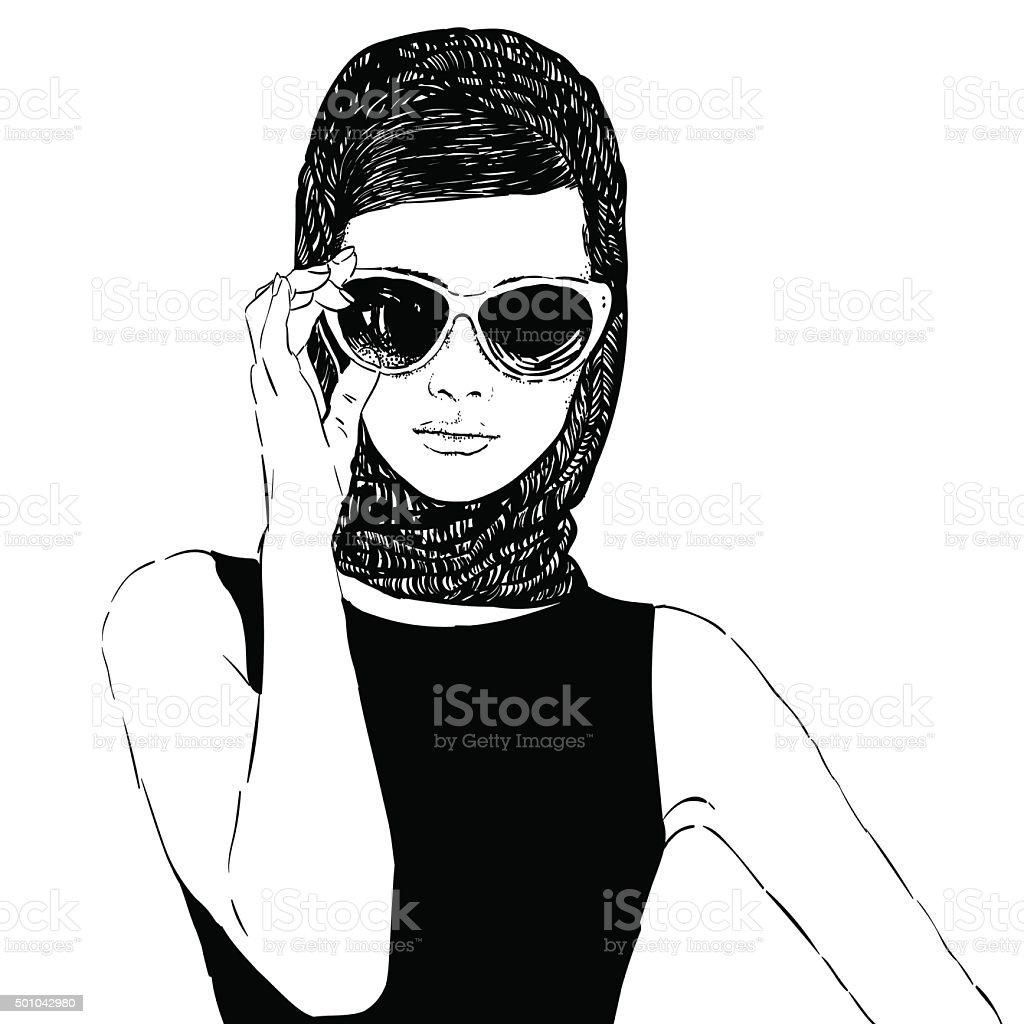 eb1fe5e84a Beautiful retro woman, vector. royalty-free beautiful retro woman vector  stock vector art
