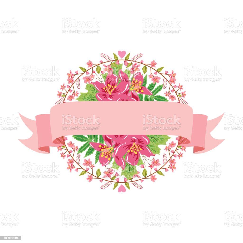 Schöne Schleife Banner Floral Blume Hochzeit Dekorative Illustration Stock Vektor Art Und Mehr Bilder Von Antiquität
