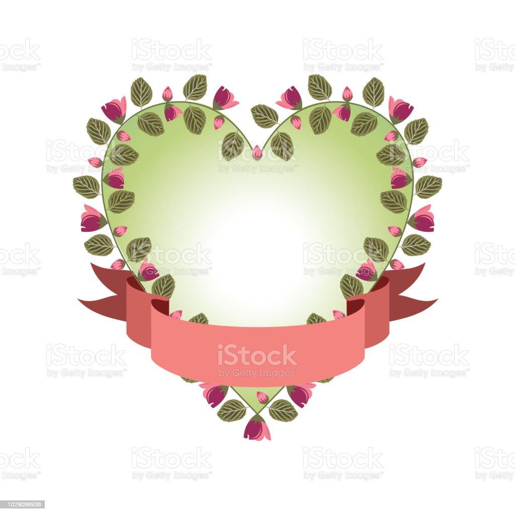 Beau Ruban Banniere Amour Coeur Fleur Floral Decoratif De Mariage