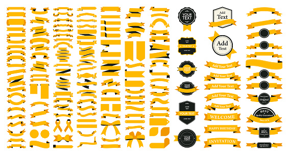 Beautiful Ribbons, Tags and Bows Collection Set Vector Design