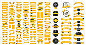 Beautiful Ribbons, Tags and Bows Collection Set Vector Design Eps 10