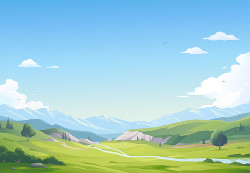 A beautiful landsapce with a river, trees, bushes, hills, mountains and green meadows under a blue cloudy sky. Vector illustration with space for text.