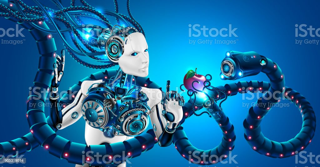 Ilustración de Mujer Bella Robot Con Rostro Humano De Perfil Manos ...