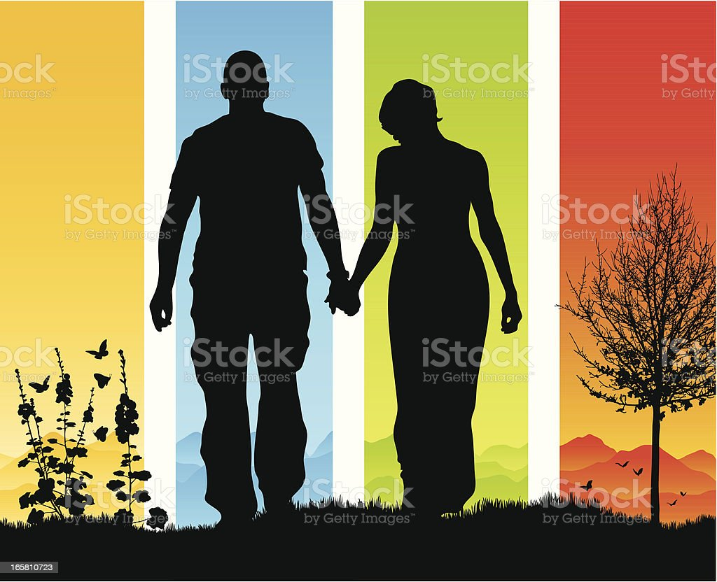Beautiful romantic couple holding hands in silhouette vector art illustration