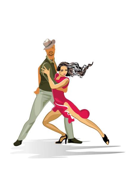 bildbanksillustrationer, clip art samt tecknat material och ikoner med vackra romantiska paret i passionerade latinamerikanska danser i staden. - street dance