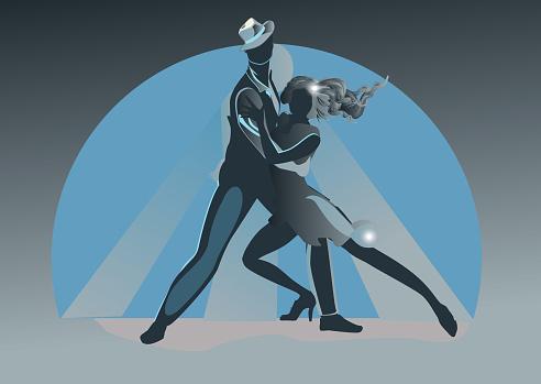 Beautiful romantic couple in passionate Latin American dances.