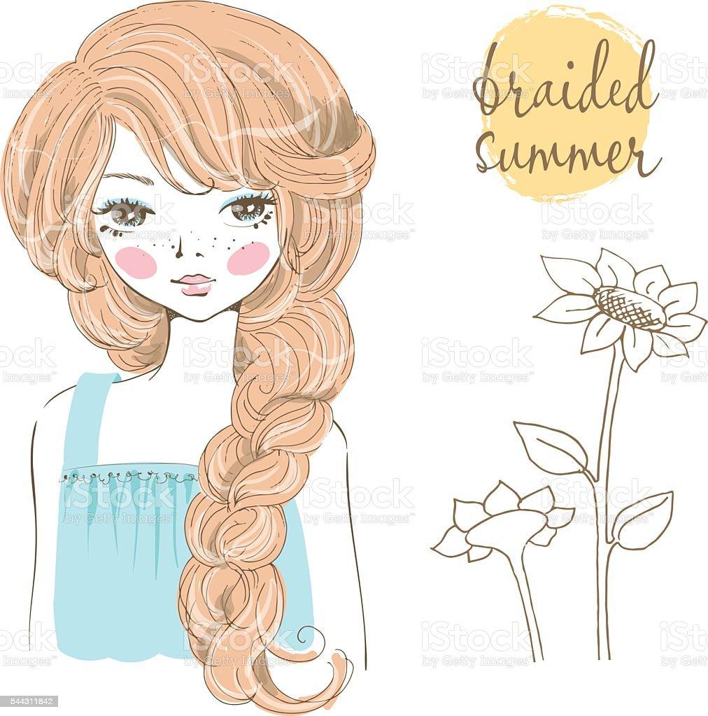 Beautiful romantic girl with braided hair. vector art illustration