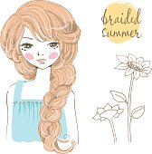 Beautiful romantic girl with braided hair.