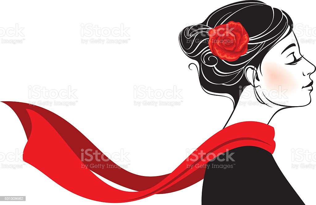 Beautiful romantic woman with rose in her hair vector art illustration