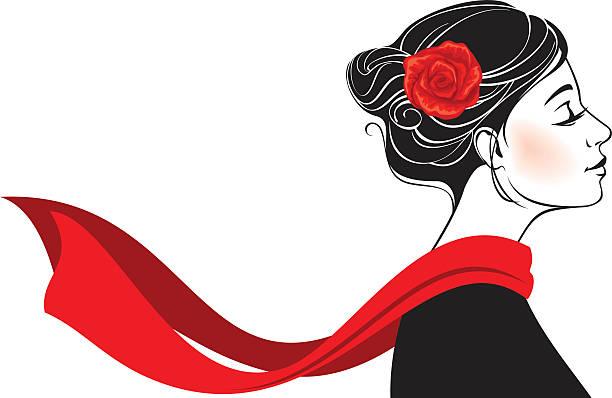 schöne romantische frau mit stieg im ihr haar - schals stock-grafiken, -clipart, -cartoons und -symbole