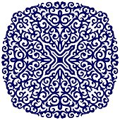 Beautiful Round floral blue ornament
