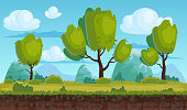 Beautiful rural landscape, fields, trees. Background mountains, clouds. For games, applications, animations, vector, isolated, cartoon style
