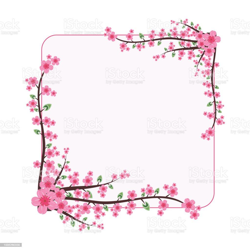 Schöne Sakura Pink Flower Kranz Rahmen Flach Illustration Stock ...