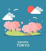 Beautiful Sakura tree sightseeing in Tokyo illustration design