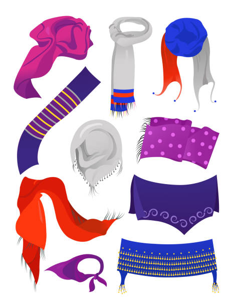 Beautiful scarves for girls Beautiful scarves for girls and women, for autumn and winter seasons, different models, isolated on white background headscarf stock illustrations