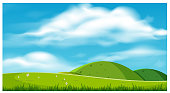 A Beautiful Scenery with Hills illustration