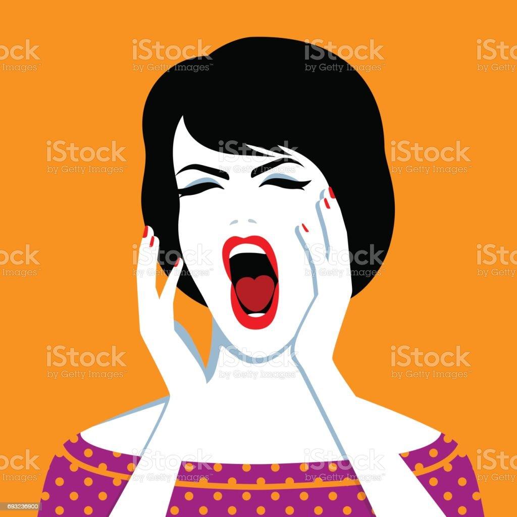 Beautiful screaming woman vector art illustration