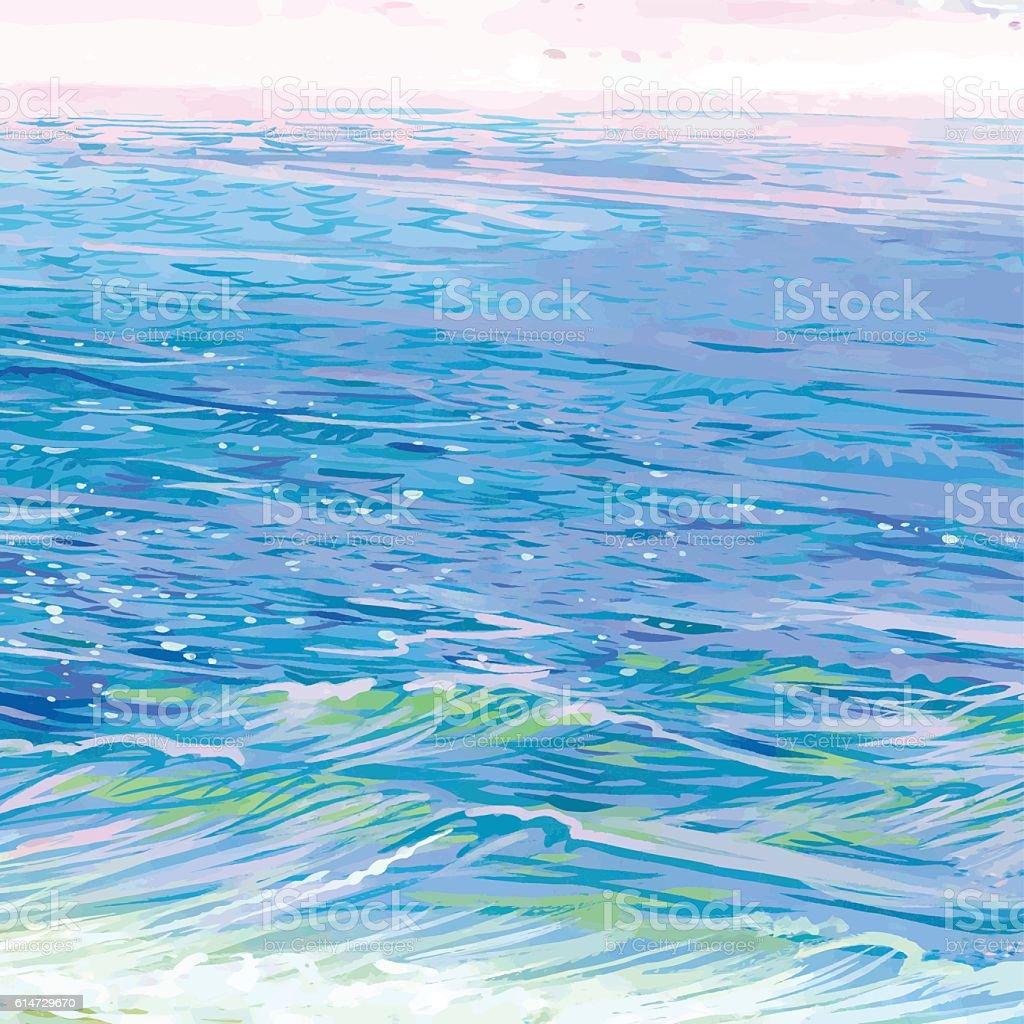 Beautiful sea horizon. vector art illustration
