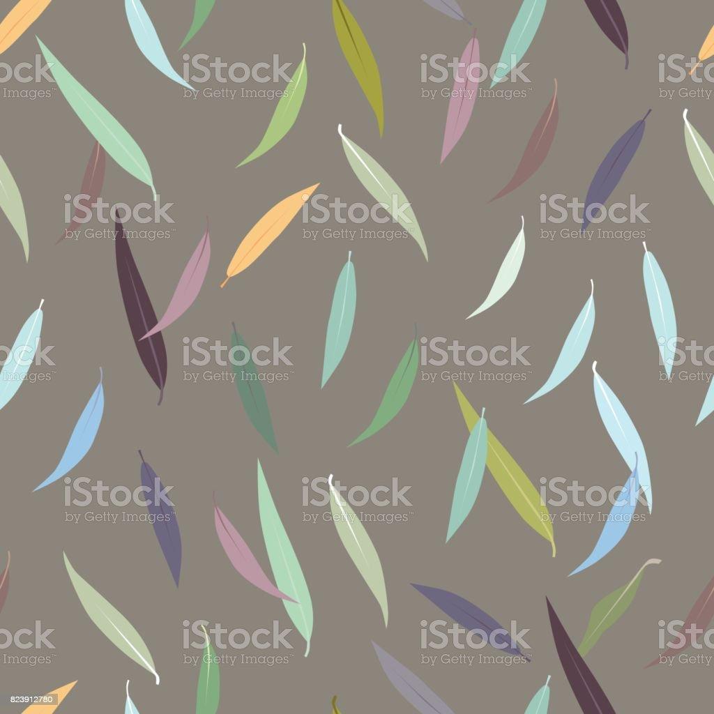 Beautiful seamless autumn leaves pattern vector art illustration